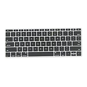 "DHZ Black Keyboard Cover Silicone Skin for New Macbook 12"" with Retina Display (2015 Model A1534) and New MacBook Pro 13 Inch (2016 Newest Version Model A1708, No Touch Bar)"