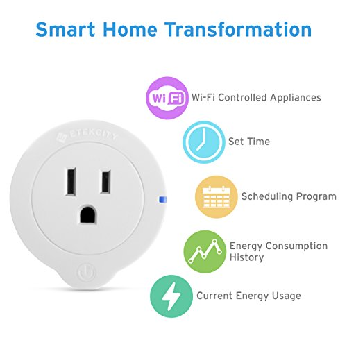 Etekcity WiFi Smart Plug Mini Outlet with Energy Monitoring (2 Pack), Works with Amazon Alexa Echo, No Hub Required, 1 Minute to Set Up, White