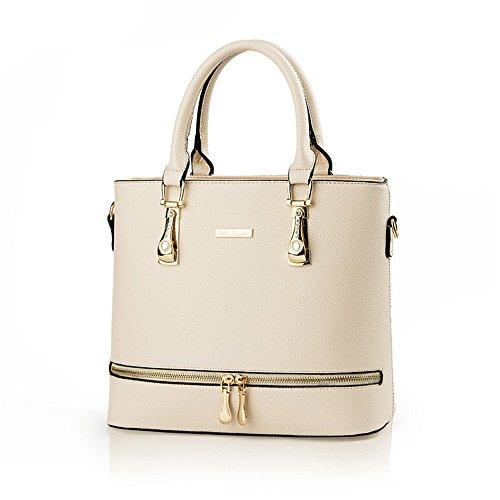 Lady Women Medium Leather Buckle Trendy Crossbody Satchel Purses Hobo Light Shoulder Handbag White by H.Tavel