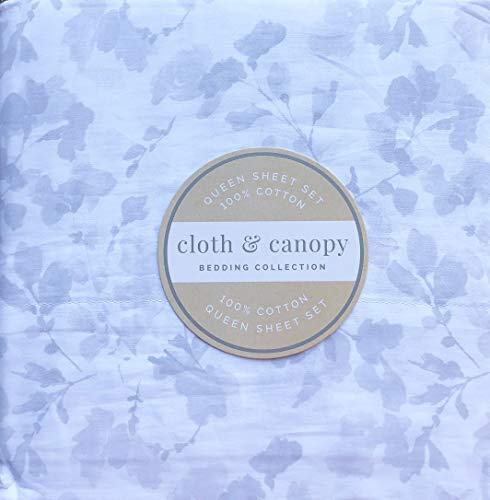 Cloth & Canopy Queen Size Floral Sheet Set Gray Petals Pattern on White Cotton Luxury - Blossom