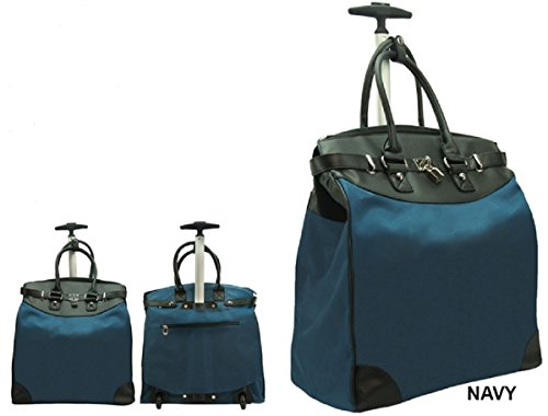 A Rollies Solid Rolling 14-inch Laptop Travel Tote - Navy ()