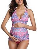 Women Halter Maternity Tankini Swimsuit Floral Pregnancy Plus Size Swimwear Pink