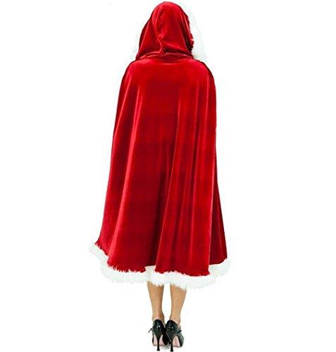 VeMee Christmas Mrs. Santa Velvet Hooded Cape Costume Women Cloak Robe Dress up Props (Dark (60's Costumes Cheap)