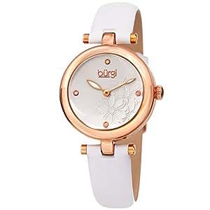 Burgi Women's Bur197Wtr Diamond Accented Flower Dial Rose Gold & White Leather Strap Watch, Analog Display
