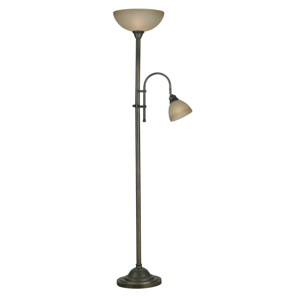 Best, Unique and Traditional 2 Light Burton Torchiere Tan Indoor Floor Lamp with Bronze Finish (For Living Room, Bedroom or Any Room)