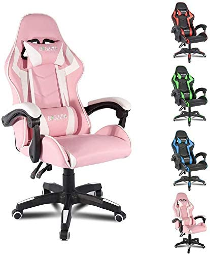 Bigzzia Gaming Chair Office Chair Desk Chair Swivel Heavy Duty Chair Ergonomic Design with Cushion and Reclining Back Support (Pink)