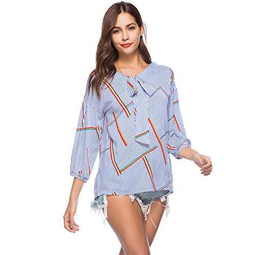 Cordones Blue Suelta Mujeres Camisa De con Estampada Las JKJHAH qvnwIZ8xq