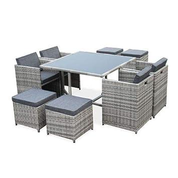 Salon de Jardin 4-8 Places - Vasto - Coloris Nuances de Gris, Coussins Gris  chiné, Table encastrable, Cube.
