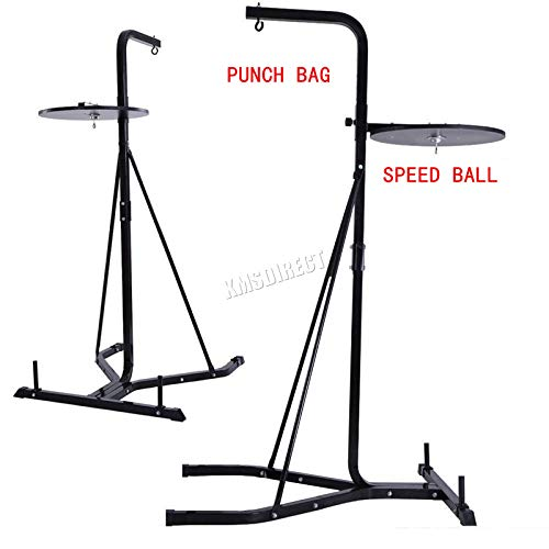 FoxHunter Fitness Heavy Duty 2 Way Free Standing Boxing Punch Bag Stand Hanging Frame Training Exercise Platform Station Gym BSF01 Black