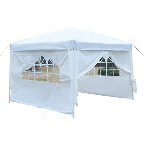 Tangkula 10'X10' EZ POP UP Tent Gazebo Wedding Party Canopy Shelter Carry Bag (White)