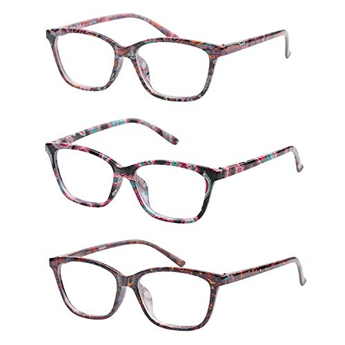Bedtime Fashion - KoKoBin Stylish Reading Glasses for Women Men 3 Pair Fashion Readers with Spring Hinge Colorful Pattern Design Ultra Thin Magnifying Glasses