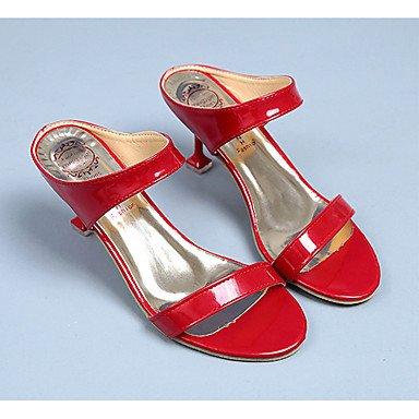 Frauen 039 s Sandalen Komfort PU Sommer lässig geteilten gemeinsamen Stiletto Heel Rubin Schwarz Weiß 1 1 3 4 EU36 UK3.5 inRubyUS5.5 CN 35