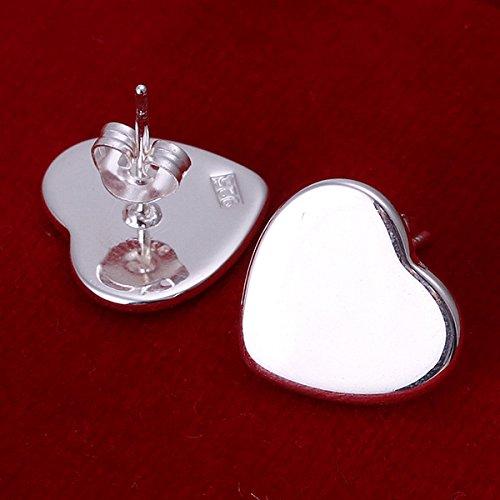 Lekima Bijoux Boucles d'oreilles Coeur Poli Argent Clou d'oreille Femme Cadeau Anniversaire Mariage