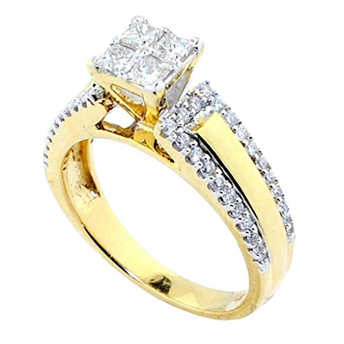 Midwest Jewellery 3/4cttw Princess Cut Diamond Cathedral Bridal Engagement Ring 10K Yellow Gold
