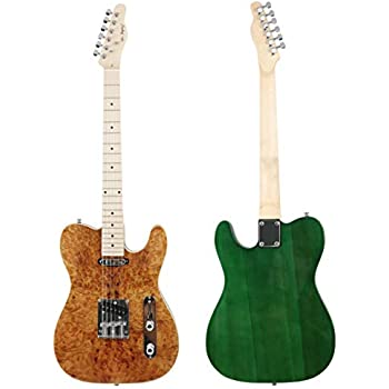 Leo Jaymz TL-100 electric guitar Heavy Elm Body with buckeye burl top in natural gloss color and Transparent Green Back