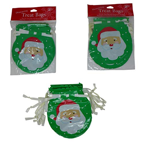 Happy Santa Cellophane Treat Bags with Twist Ties (Pack of 30) Christmas Party Favors, Goody Bags, Treat Bags, Return Gift -