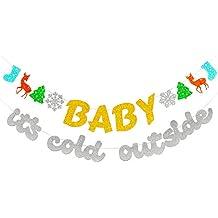 Glitter Baby It 's Cold Outside de Banner Baby Shower de Navidad Winter Party Decorations