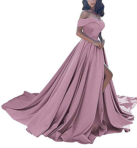 - Prom Dresses Long Split Off Shoulder Satin A line Wedding Evening Dress for Women Formal Blush-2 Size