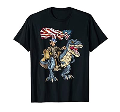 Abe Lincoln Murica T- Rex Shirt Funny 4th Of July USA Flag