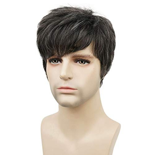 Wiginway Short Dark Brown Mixed Gray Natural Straight Wigs Pixie Cut Hair Wig Men Boy Synthetic Wig
