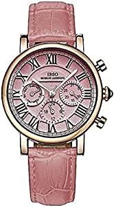 IBSO Pink Genuine Leather Casual Watch For Women, IBSO-6813L