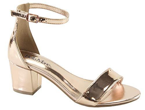 Bella Marie Women's Strappy Open Toe Block Heel Sandal (8.5, Rose Gold) ()
