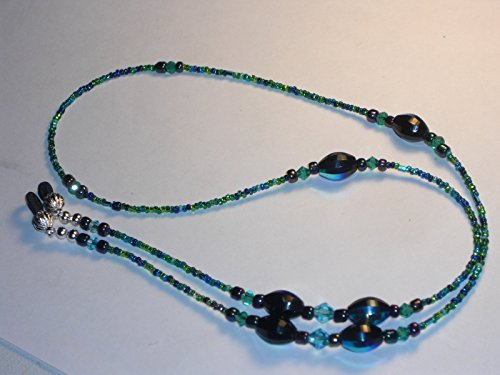 Proud Peacock Blue Green Beaded Eyeglass Chain Holder Necklace 28 inches Fancy Ends - Eyeglasses Garde Avant