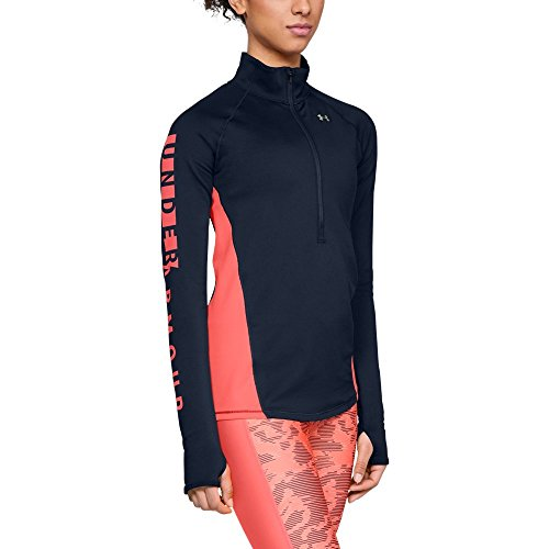 Under Armour Women's Coldgear Armour Graphic 1/2 Zip, Academy (408)/Metallic Silver, Small by Under Armour (Image #1)
