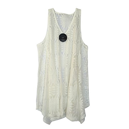 India Boutique Lace Beach Swimsuit Cover Up Blouse Top / Tunic, Resort Wear, One Size, White