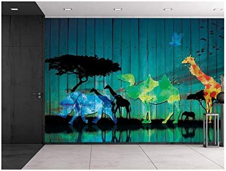 Vintage Wood Panel Safari Scene African Plains Animals Near Watering Hole Silhouettes Colorful Abstractions Wall Mural