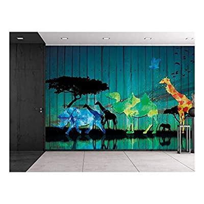 Vintage Wood Panel Safari Scene - African Plains Animals Near Watering Hole Silhouettes - Colorful Abstractions - Wall Mural, Removable Sticker, Home Decor - 66x96 inches