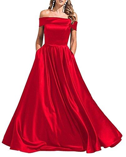 Drehouse Off-the-épaule Robes Du Soir Une Longue Ligne Robes De Bal 2017 Rouge Des Femmes