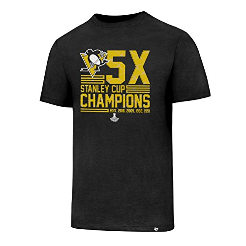 '47 NHL Pittsburgh Penguins 2017 Stanley Cup Champions Men's PP Club Tee, Jet Black/X Champs, Medium