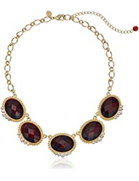 """Gold-Tone Red with Crystal Accent Oval Faceted Station Collar Necklace, 16"""""""
