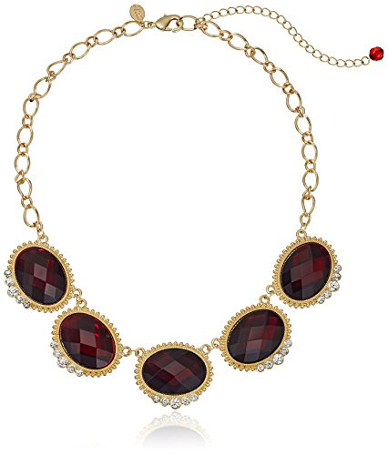 1928 Jewelry Gold-Tone Red with Crystal Accent Oval Faceted Station Collar Necklace, 16