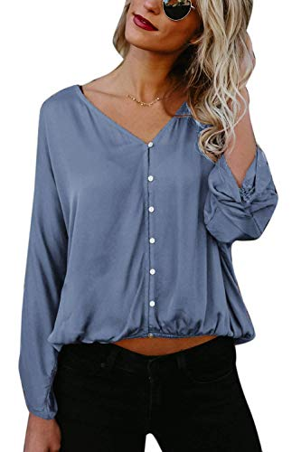 Grande Unie Taille Couleur Bleu Casual Longues Boutonnage Haut Chemisier Mode Blouse Printemps Dame Femme Bouffant Simple Shirt Battercake Tops V Elgante Cou Manches Automne BTASq