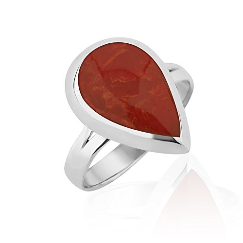 925 Sterling Silver Rimmed Red Resin Pear Teardrop Modern Bold Statement Ring, Size - Bold Statement