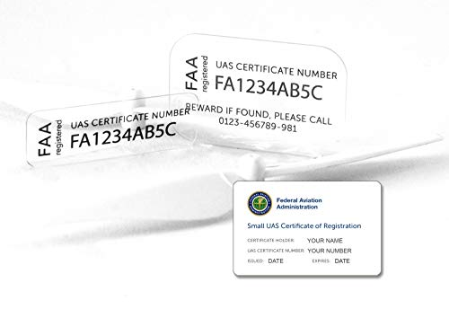(Drone Label for FAA UAS Registration Number, Ultra-Thin Glass, Including FAA ID Card)