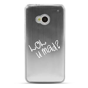LOL U MAD? - Geeks Designer Line Laser Series Silver Aluminum Back on Clear Hard Case for HTC One