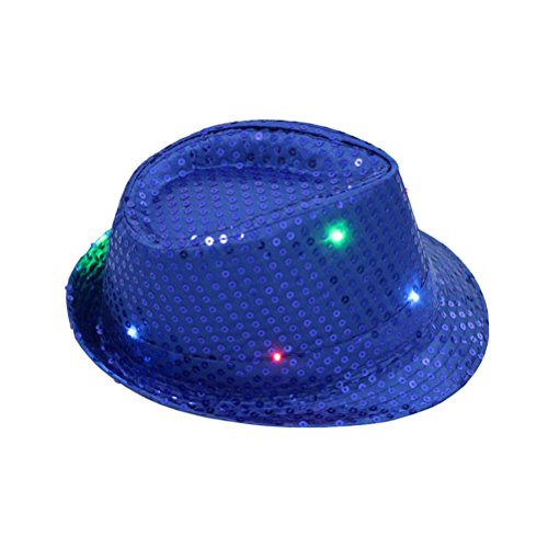 Fedora Hat Jazz Hat Cap Dance Hat Glitter Sequins Flashing LED Hat For Party Hat Dress Up Costume accessories (Blue)