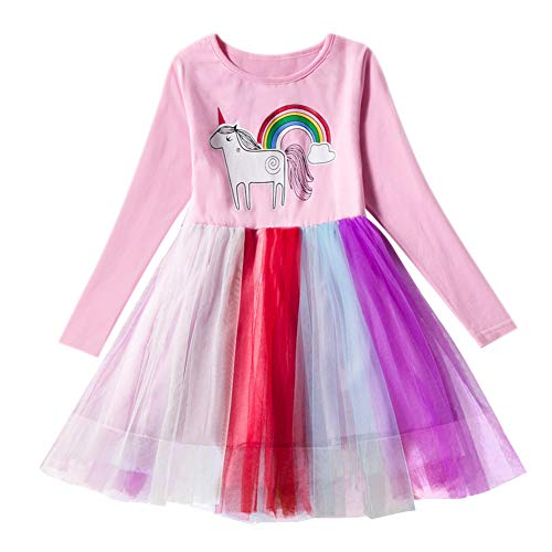 Toddler Girls Princess Tulle Dress Unicorn Cotton Long Sleeve Causal Colorful Lace Dresses