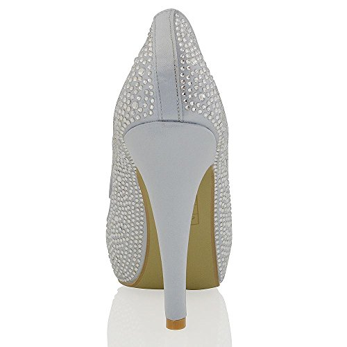 Glam Finto Toe Scarpa Alto Argento Diamante Essex Satinato Plateau Peep Sposa Tacco Xd4wI