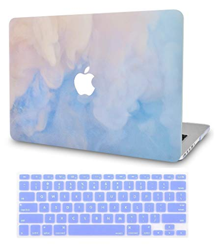 LuvCase 2 in 1 Rubberized Plastic Hard Shell Case Cover with Keyboard Cover Compatible MacBook Air 13 Inch A1466 / A1369 (No Touch ID) (Blue - Blue Rubberized Case Plastic