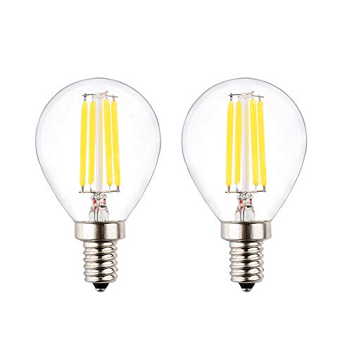 OPALRAY LED G45 Globe Bulb, DC 12V, AC 12V, 4W Dimmable with DC Dimmer, E12 Candle Base, 2700K Warm White Light, 40W Incandescent Replacement, Solar System 12Volts DC Power Operated, 2 Pack