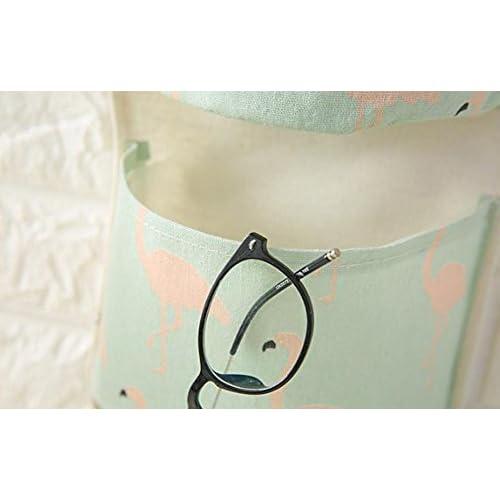 1pcs Xuxuou Creative Flamingo en coton et lin étanche Three-storey à suspendre Sac de rangement simples Tissu avec 3poches Sac de rangement pour porte suspendu