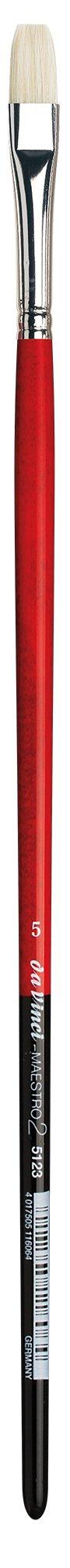 da Vinci Hog Bristle Series 5123 Maestro 2 Artist Paint Brush, Bright Medium-Length with Red Handle, Size 5 (5123-05)