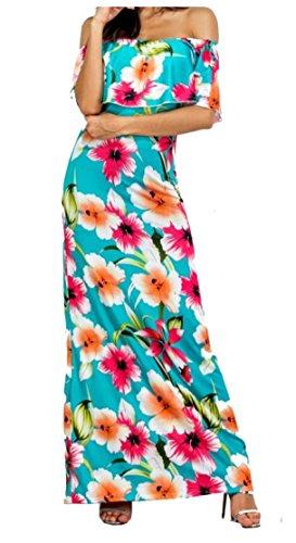 Jaycargogo Womens De L'épaule Sexy Robe De Soirée Floral Maxi Plage Club Imprimé 3