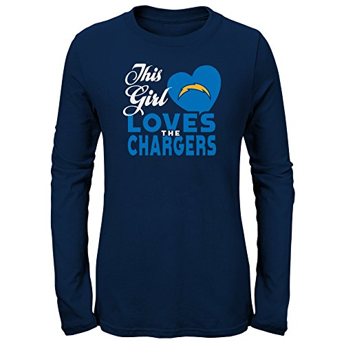 Outerstuff NFL NFL LA Chargers Youth Girls This Girl Loves Long Sleeve Fashion Fit Tee Navy, Youth Large(14) ()