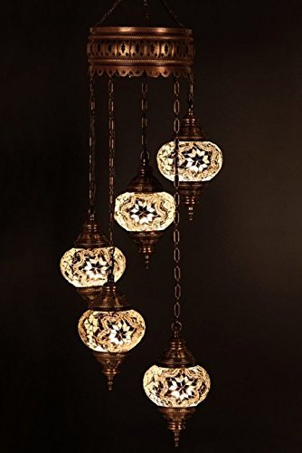 Chandelier, Ceiling Lights, Turkish Lamps, Hanging Mosaic Lights, Pendant, White Glass, Color Glass, Moroccan Lantern, 5 Bulbs, Express Shipping (Turkish Lamps Hanging)