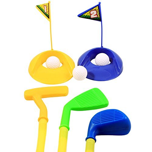 YMCtoys Deluxe Kids Happy Golfer Toy Golf Set w/ 3 Golf Balls, 3 Types of Clubs, 2 Practice Holes, Perfect Golf Set for Children (Colors May Vary)